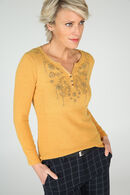 T-shirt strass à l'encolure, Ocre