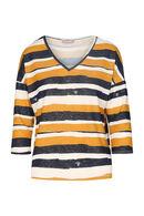 Shirt in warm tricot met lurexstrepen, Oker