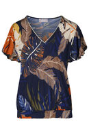 T-shirt in tricot bedrukt met palmbladeren, Marineblauw