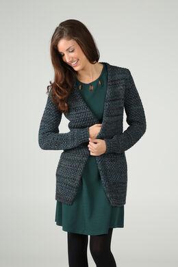 Lange cardigan in getwijnd tricot, Emerald groen