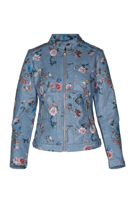 Jasje in imitatieleder met bloemenprint - Blauw