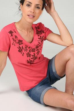 T-shirt sérigraphie de fleurs, Framboise
