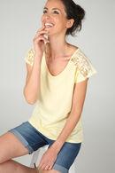 T-shirt met kanten inzetsels, Geel