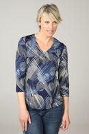 Shirt met cirkels en een juweelhals, Marineblauw