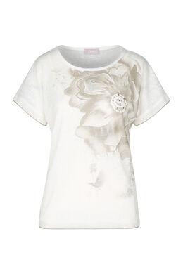 T-shirt met grote bloem, Ecru