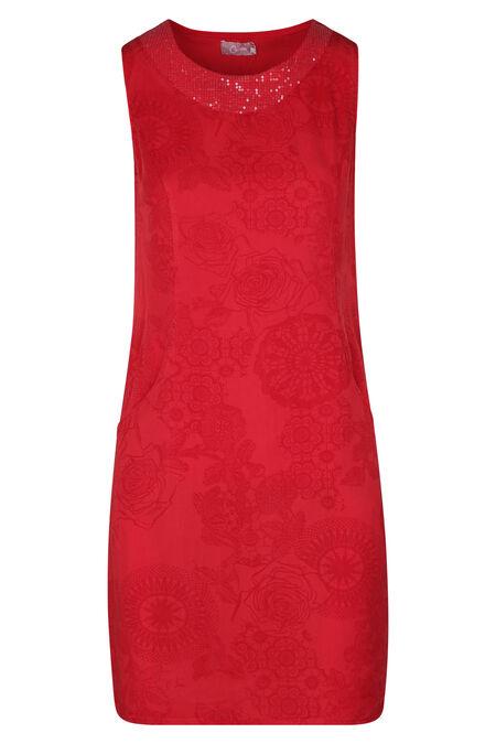 Robe lyocel imprimé mandalas et fleurs col avec sequins - Rouge
