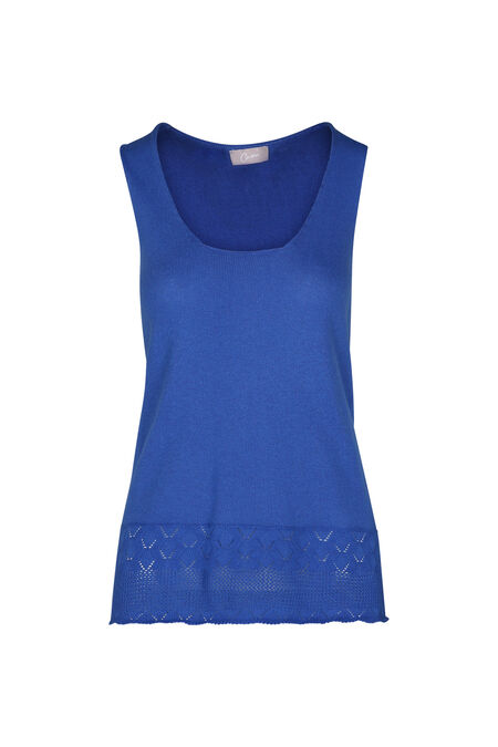 Mouwloze trui in dun tricot - Koningsblauw