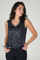 T-shirt met dierenhuidprint en zilverkleurig accent, Marineblauw