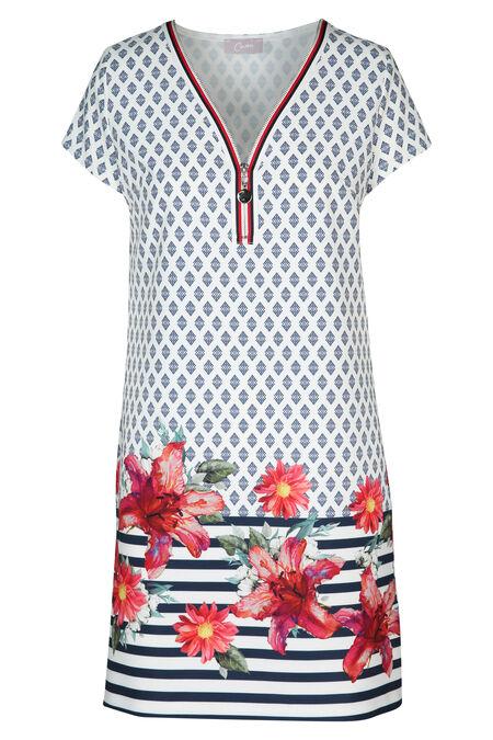 Robe imprimé minimaliste et fleuri avec zip - Fushia