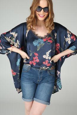 Kimono met bloemenprint, Marineblauw