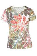 T-shirt maille froide imprimé feuilles, Anis