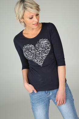 T-shirt imprimé cœur, Marine