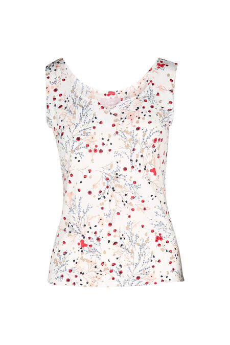 T-shirt maille froide imprimé fleuri - Rose fonce