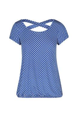 T-shirt in gestipt tricot, Koningsblauw
