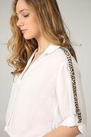 Chemise bandes léopard, Ecru