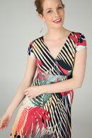 Lange jurk bedrukt met palmbladeren, Framboos