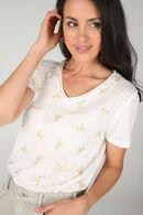 T-shirt à dessins plumes, Ecru