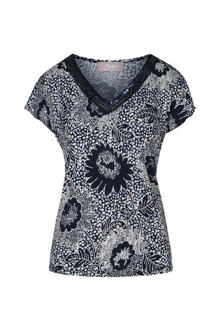 T-shirt imprimé fleuri col V avec perles - Marine