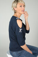 T-shirt met strikjes, Marineblauw