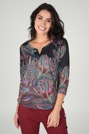 T-shirt met Tunesische hals en kleurrijke pluimenprint, Multicolor