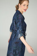Jurk in bloementencel met riempje, Marineblauw
