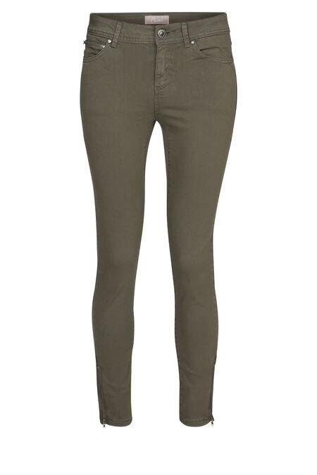 Pantalon slim zip bas de jambe - Kaki