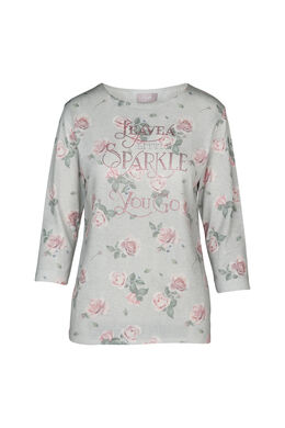 "Pull strass citation ""Leave a little sparkle wherever you go"", Vert d'Eau"