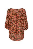 Kleurrijke blouse met luipaardprint, Oranje