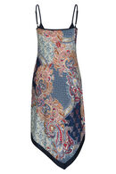 Robe longue imprimé carré foulard, Camel