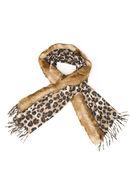 Echarpe fausse fourrure maille léopard, Camel
