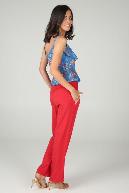 Pantalon fluide inspiration jeans - Rouge - Cassis 636b55002feb