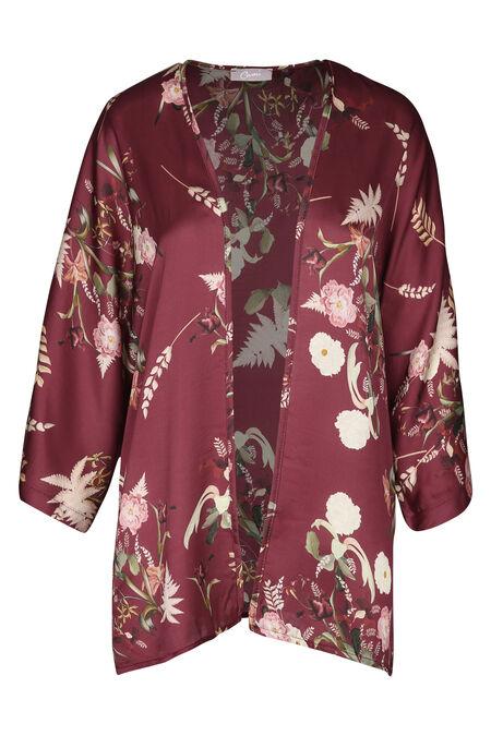Kimonojasje met bloemetjes - Wijnrood