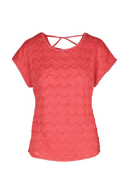 T-shirt in kant, Rood