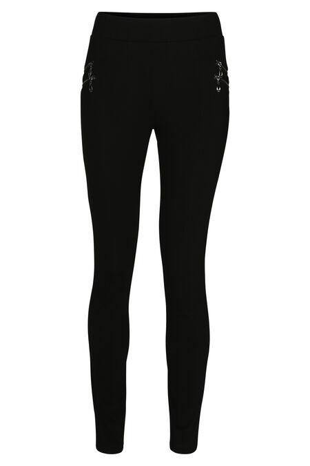 Legging in tricot met ritsdetails - Zwart
