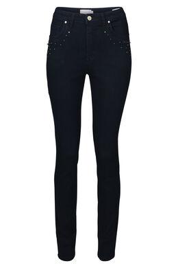 Smalle jeans met strassteentjes en kraaltjes, Donker denim