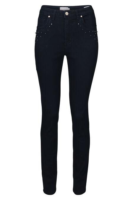 Smalle jeans met strassteentjes en kraaltjes - Donker denim