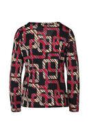T-shirt imprimé géométrique chaînes, Framboise