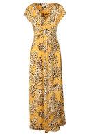 Robe longue drapée imprimé léopard, Ocre
