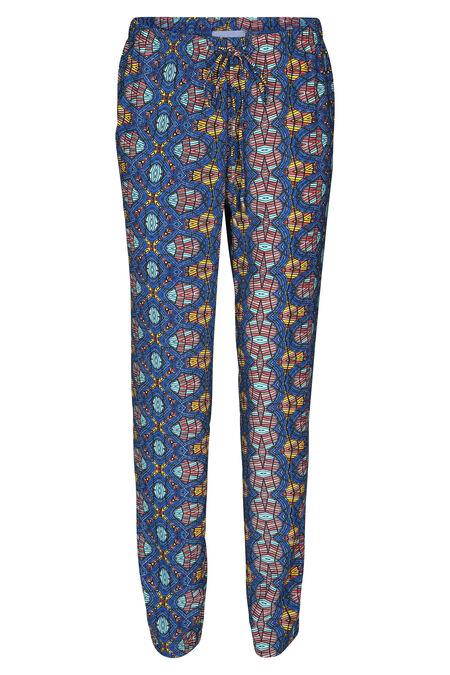 Soepele broek met wasprint - Koningsblauw