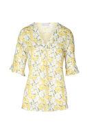 Bloes met een tropische bloemenprint, Geel