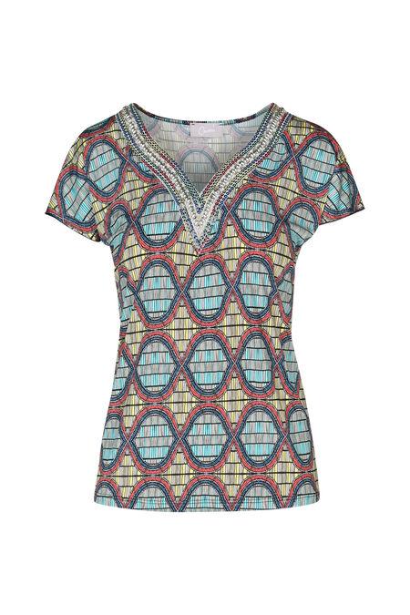 T-shirt imprimé Wax et perles - Ocre