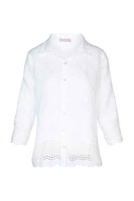 Tunique en lin manches longues broderies losanges - Blanc