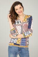 T-shirt met etnische patchprint, Geel