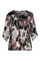 T-shirt met een tropische bloemenprint en een ritshals, Framboos