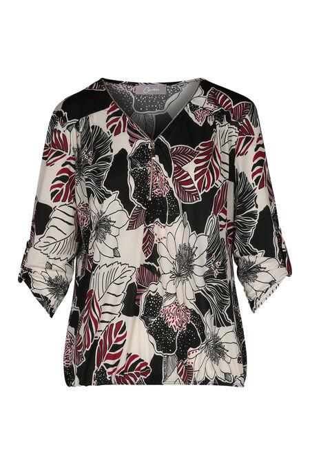 T-shirt met een tropische bloemenprint en een ritshals - Framboos