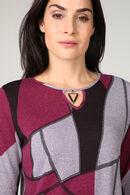 T-shirt in warm tricot met geometrische print, Violet