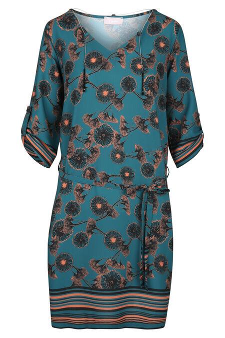 Robe imprimé fleuri col avec bijoux - Canard