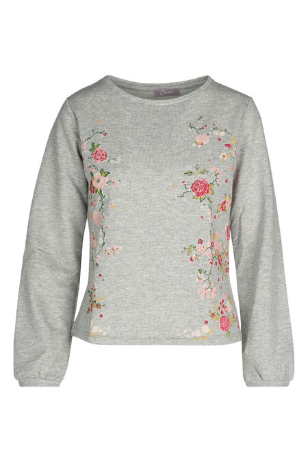 Sweater met bloemenprint - Gris Chine