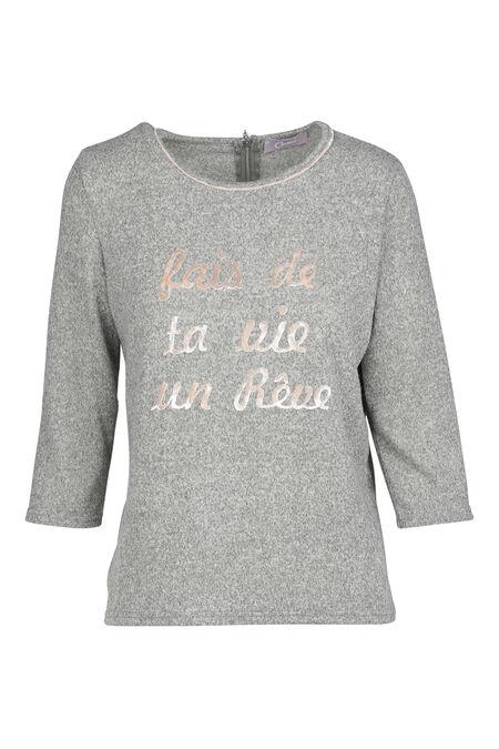 Sweater met fluwelen print - Grijs