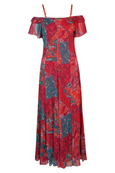 Robe longue laçage à l'encolure - Rouge